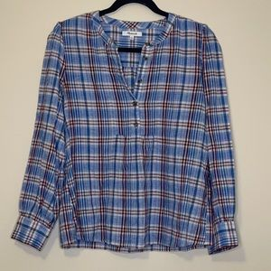 Madewell Plaid Long Sleeve 1/2 Button Front Top